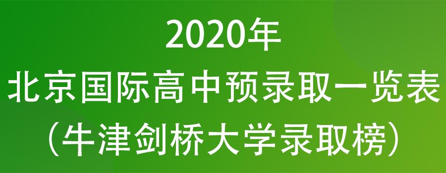 2020年北京国际高中预录取一览表(牛津剑桥大学录取榜)