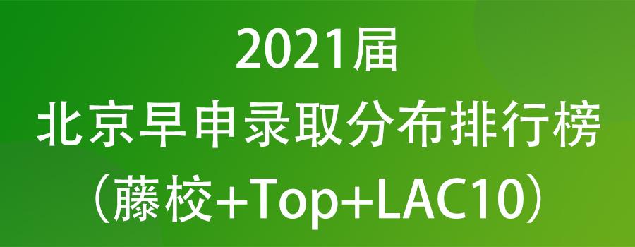 2021届北京早申录取分布排行榜(藤校+Top+LAC10)