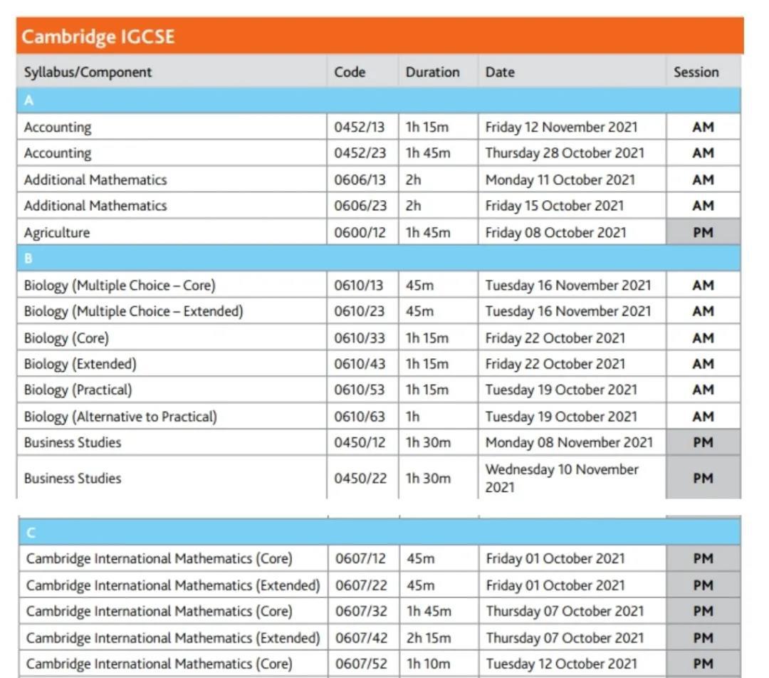11月A-Level 和 IGCSE考试时间已公布,CAIE剑桥考试局关键时间节点一览