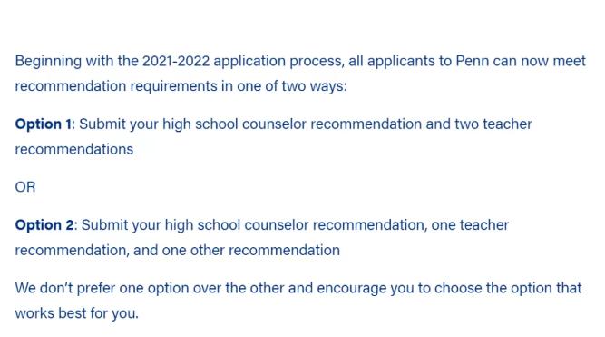 宾大推荐信有什么要求,2021-2022年申请季有哪些藤校申请有变化?